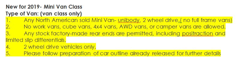 van class rules